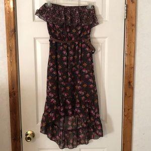 Brown Floral Maurice's Dress w/ Asymmetrical skirt